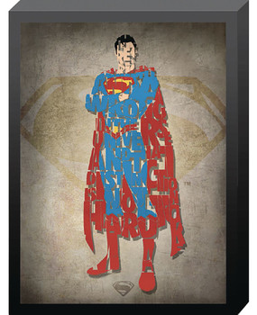 DC COMICS SUPERMAN OUTLINE PRINTED GLASS ART