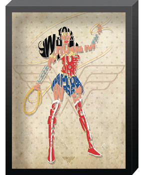 DC COMICS WONDER WOMAN OUTLINE PRINTED GLASS ART