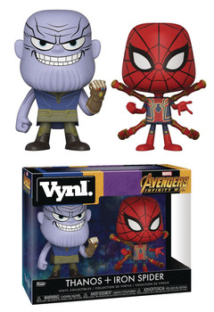 VYNL AVENGERS INFINITY WAR THANOS & IRON SPIDER VIN FIG 2PK