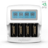 Premium High Capacity Rechargeable Batteries (4-Pack and Charger) Arlo Certified Li-ion 3.7V 750mAh and Smart Fast Charger with LCD