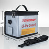 Tenergy Fireproof and explosion-proof lipo safe zipper bag, 8.5 x 6.5 x 5.7inch