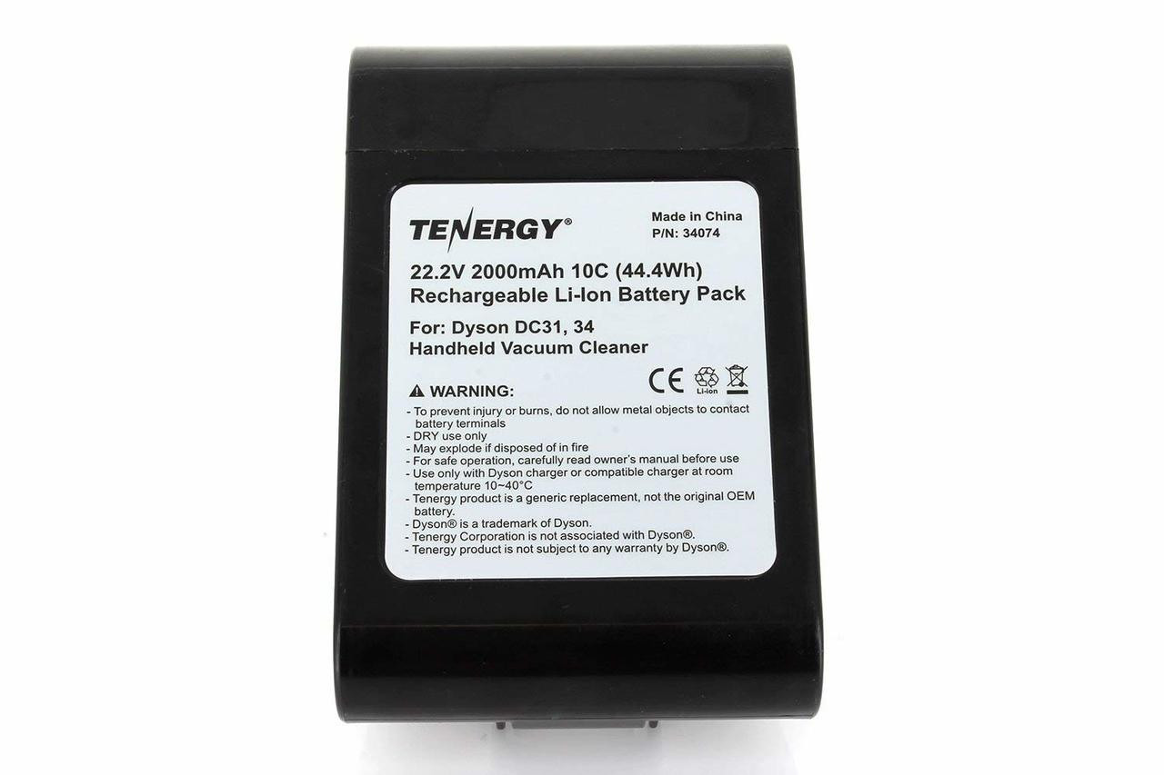 Tenergy Li-ion 22.2V 2000mAh Replacement Battery for Dyson DC31, DC34, DC35 (Except TypeB), DC44 (Type i)  Handheld Vacuum Cleaners