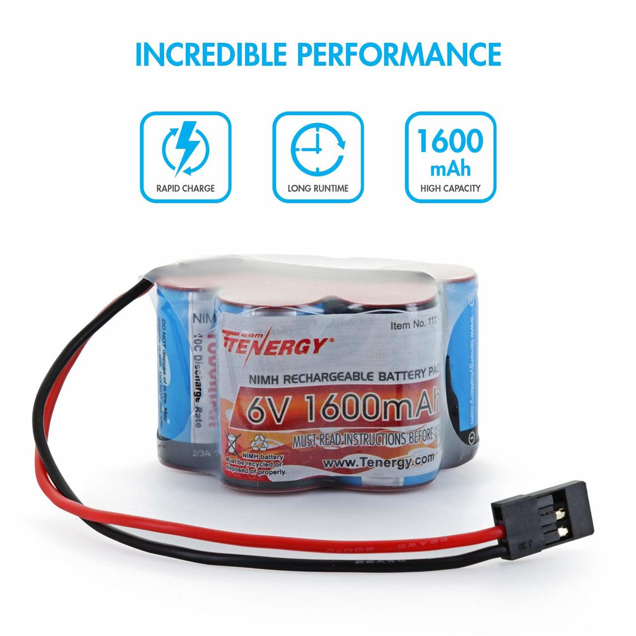 6V Tenergy 1600mAh NiMH Side by Side  Double Hump Battery Pack with Hitec Connector