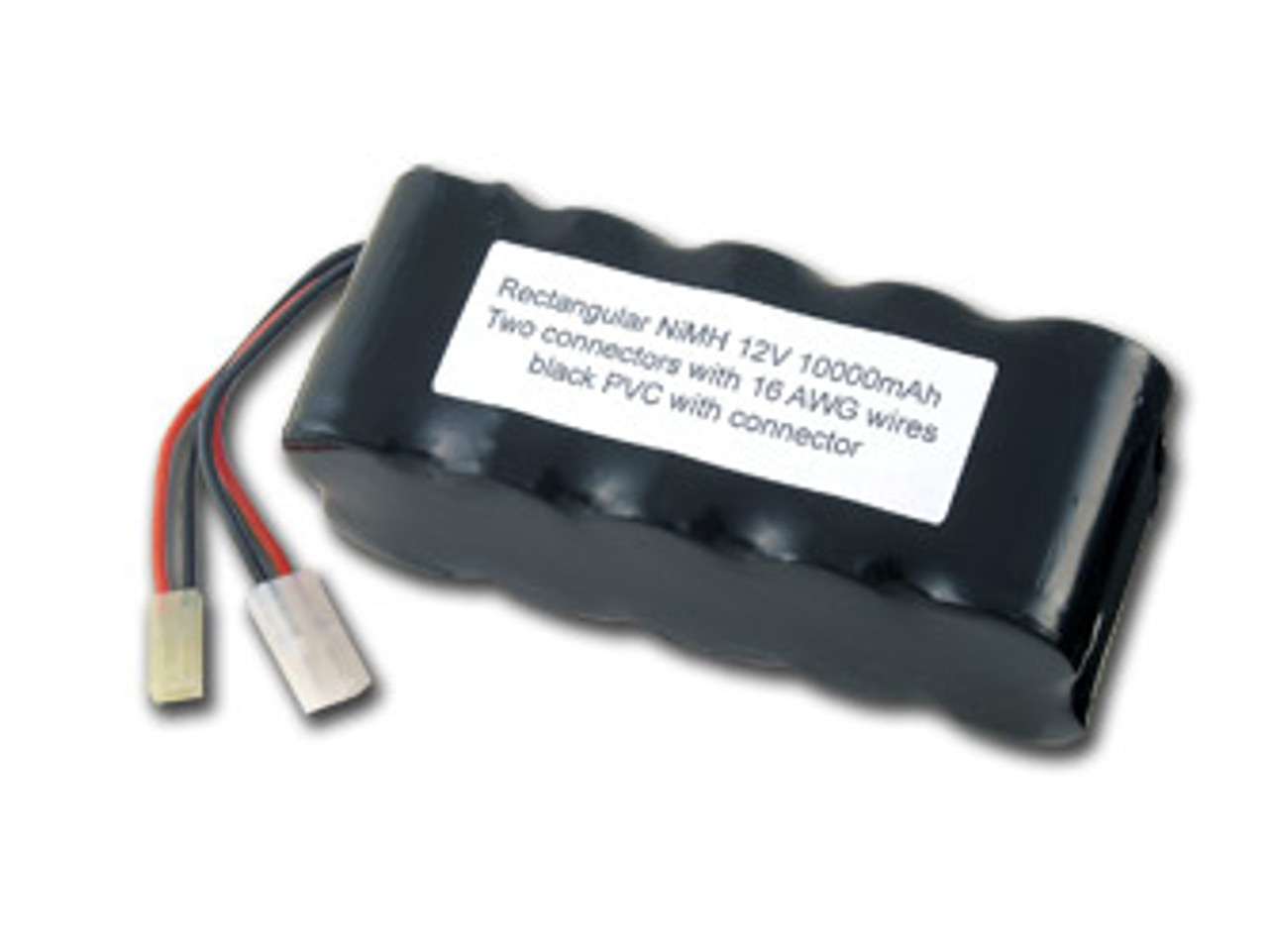 AT: Tenergy 12V 10000mAh NiMH Rechargeable Battery Pack (10S1P, 120.0Wh, 10A Rate, Standard + Mini Tamiya Connectors)
