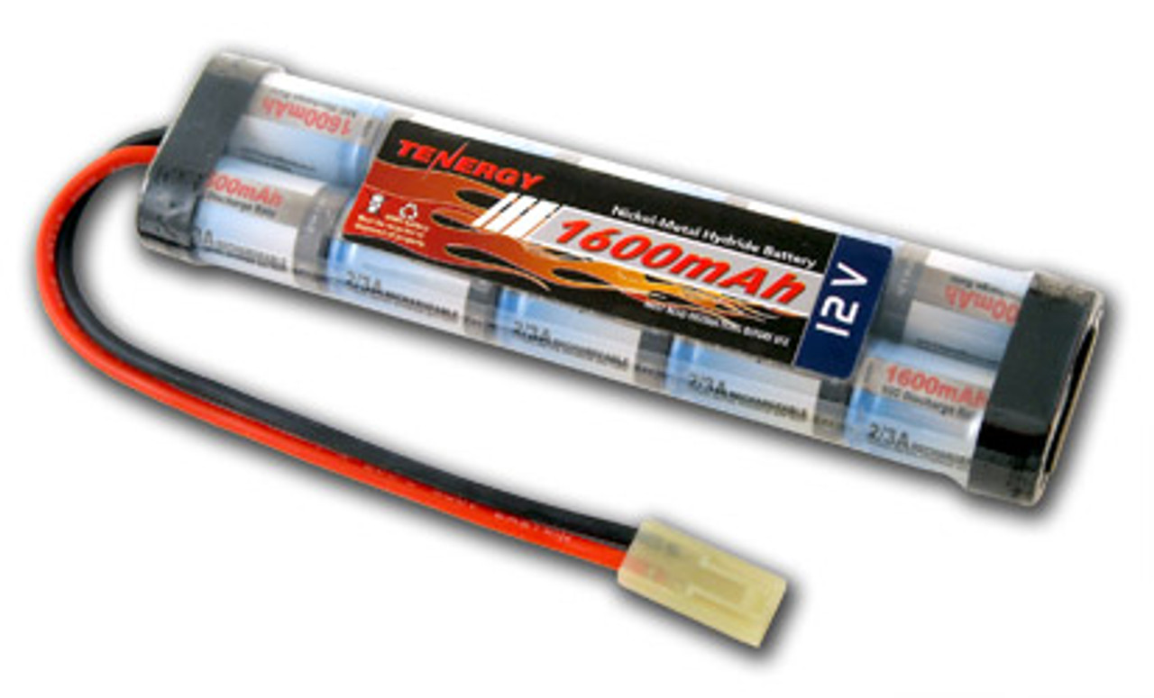 AT: Tenergy 12V 1600mAh NiMH Rechargeable Battery Pack (10S1P, 19.2Wh, 16A Rate, Mini Tamiya)