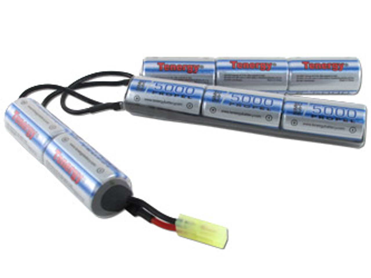 AT: Tenergy 9.6V 5000mAh NiMH Rechargeable Battery Pack (8S1P, 48.0Wh, 30A Rate, Mini Tamiya Connector, Crane Stock)