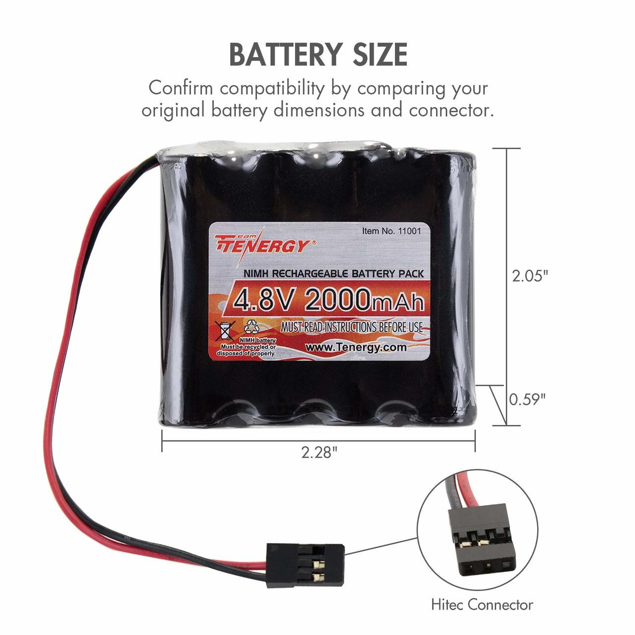 Tenergy NiMH 4.8V 2000mAh Flat Receiver RX Battery Pack for RC Airplanes