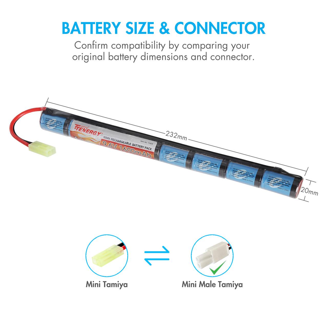 Tenergy Airsoft NiMH 9.6V 1600mAh Stick  Battery Pack w/ Mini Tamiya Connector