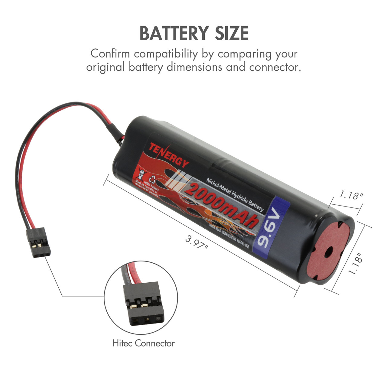 Tenergy NiMH 9.6V 2000mAh Square Rechargeable Transmitter Battery Pack, NT8S600B, for RC Airplanes and Cars