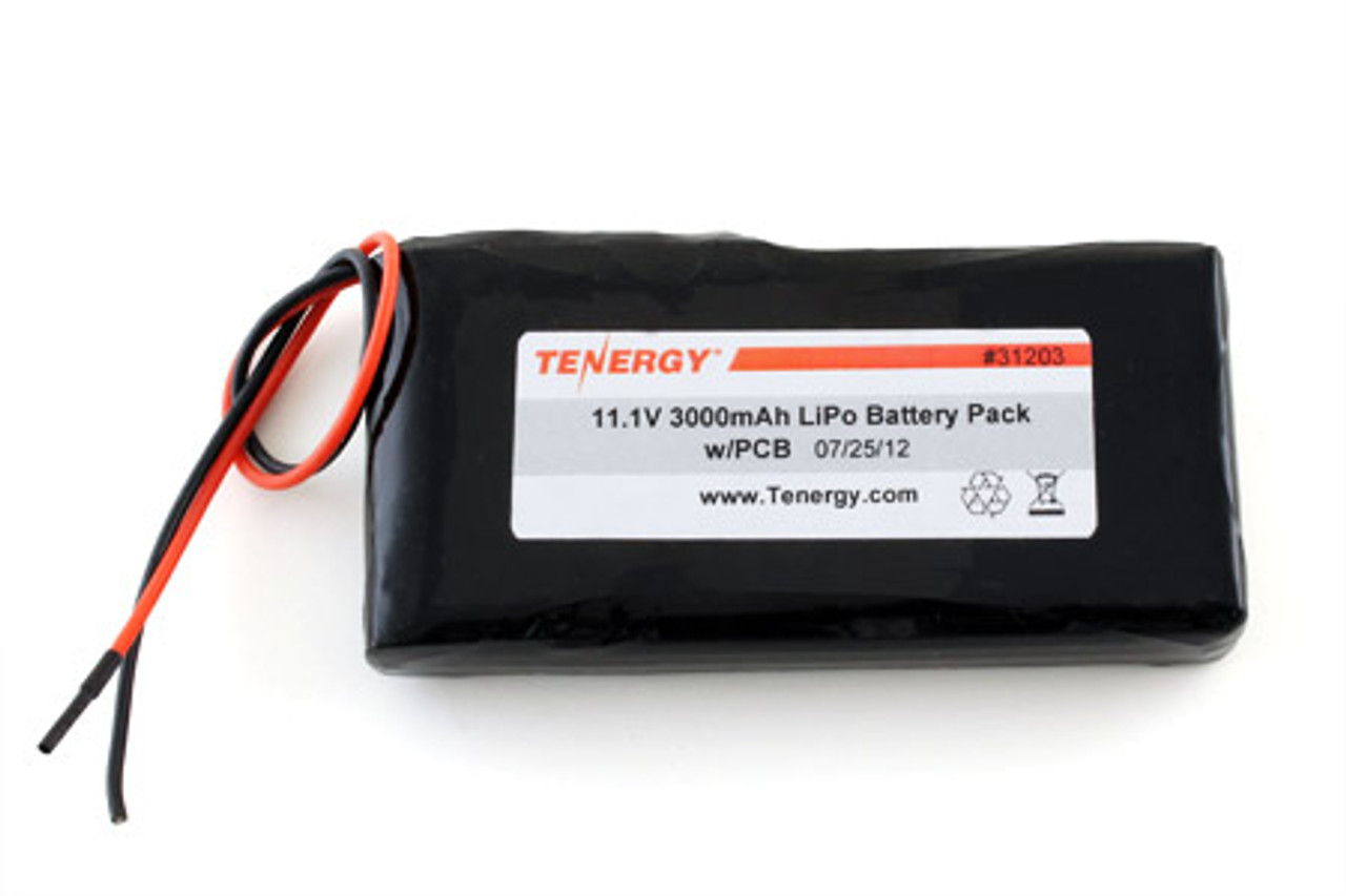 AT: Tenergy Li-PO 11.1V 3000mAh Rechargeable Battery Pack w/ PCB (3S1P, 33.3Wh, 3A Rate)