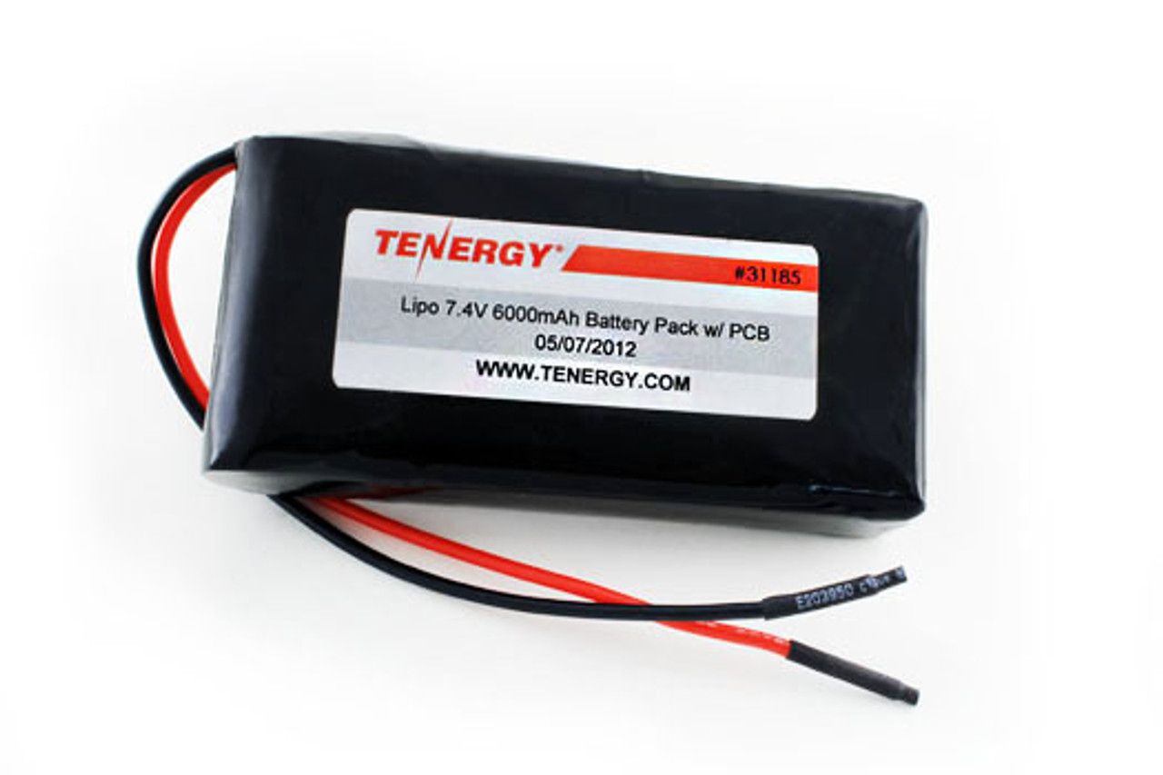 AT: Tenergy LiPo 7.4V 6000mAh Rechargeable Battery Pack (2S2P, 44.4Wh, 5A, Bare Leads)
