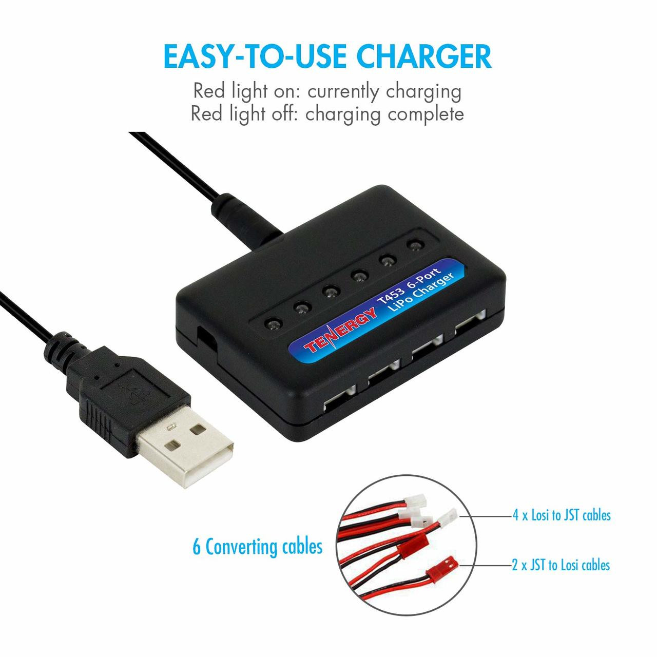 Combo: T453 charger for 3.7V Lithium RC battery + 6pc 3.7V 700mAh LiPo Battery Pack (Compatible with Syma X5, X5C, X5SC, X5SW and Cheerson CX-30W)