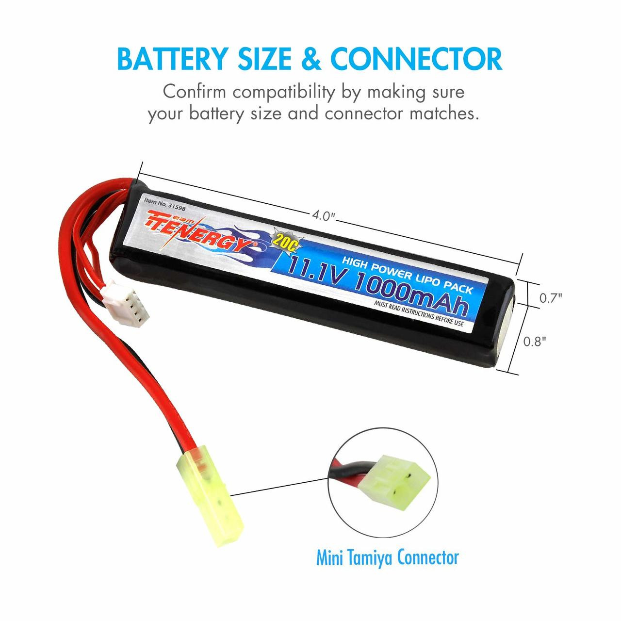 Tenergy Airsoft Li-Po 11.1V 1000mAh Stick Battery Pack w/ Mini Tamiya Connector