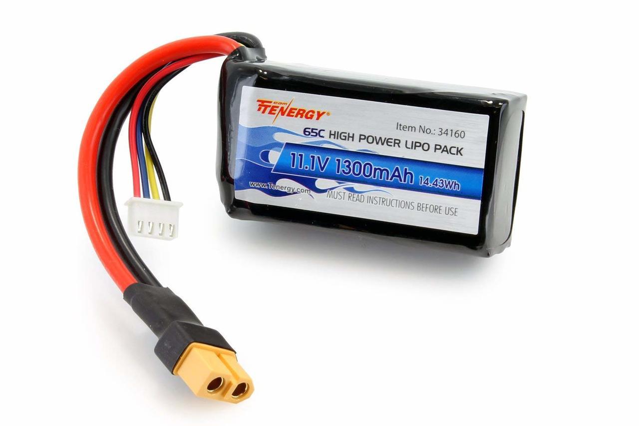 Tenergy 1300mAh 11.1V 65C LiPO Battery with XT60 Connector