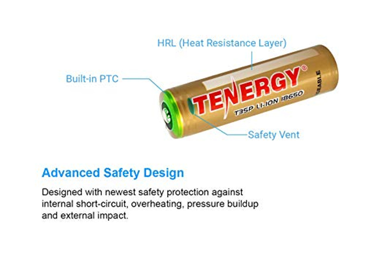 2-Pk Tenergy T35P 3.6V 3500mAh 8A Protected 18650 Rechargeable Li-ion Battery, High Drain, Button Top, 12.6Wh, Carrying Case Included