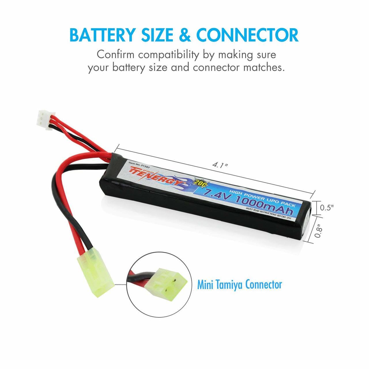 Tenergy Airsoft Li-Po 7.4V 1000mAh Stick Battery Pack w/ Mini Tamiya Connector