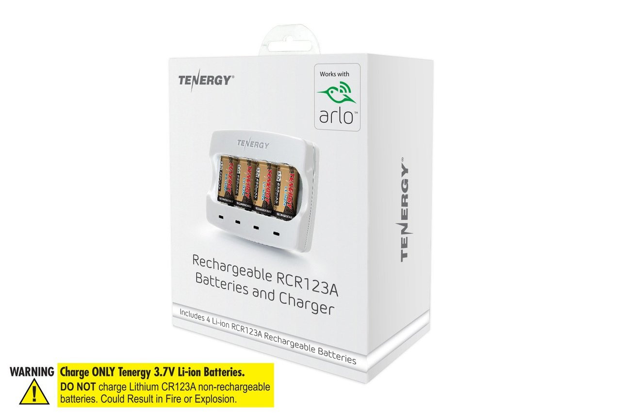 Rechargeable Batteries (4-Pack and Charger) Arlo Certified Li-ion 3.7V 650mAh Battery for Arlo Wireless Cameras (VMC3030), UL/UN Certified