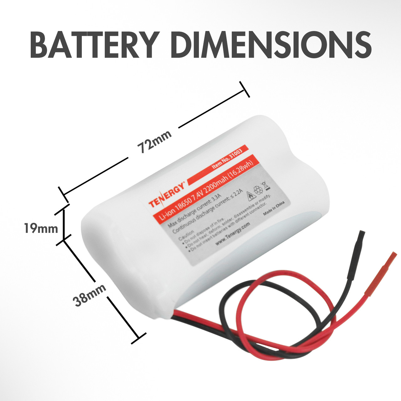Tenergy Li-Ion 7.4V 2200mAh Rechargeable Battery w/ PCB (2S1P, 16.25Wh, 3A Rate)