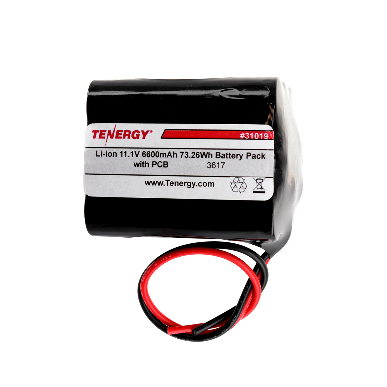 AT: Tenergy Li-ion 18650 11.1V 6600mAh Rechargeable Battery Pack w/ PCB (3S3P, 73.26Wh, 5.7A Rate)