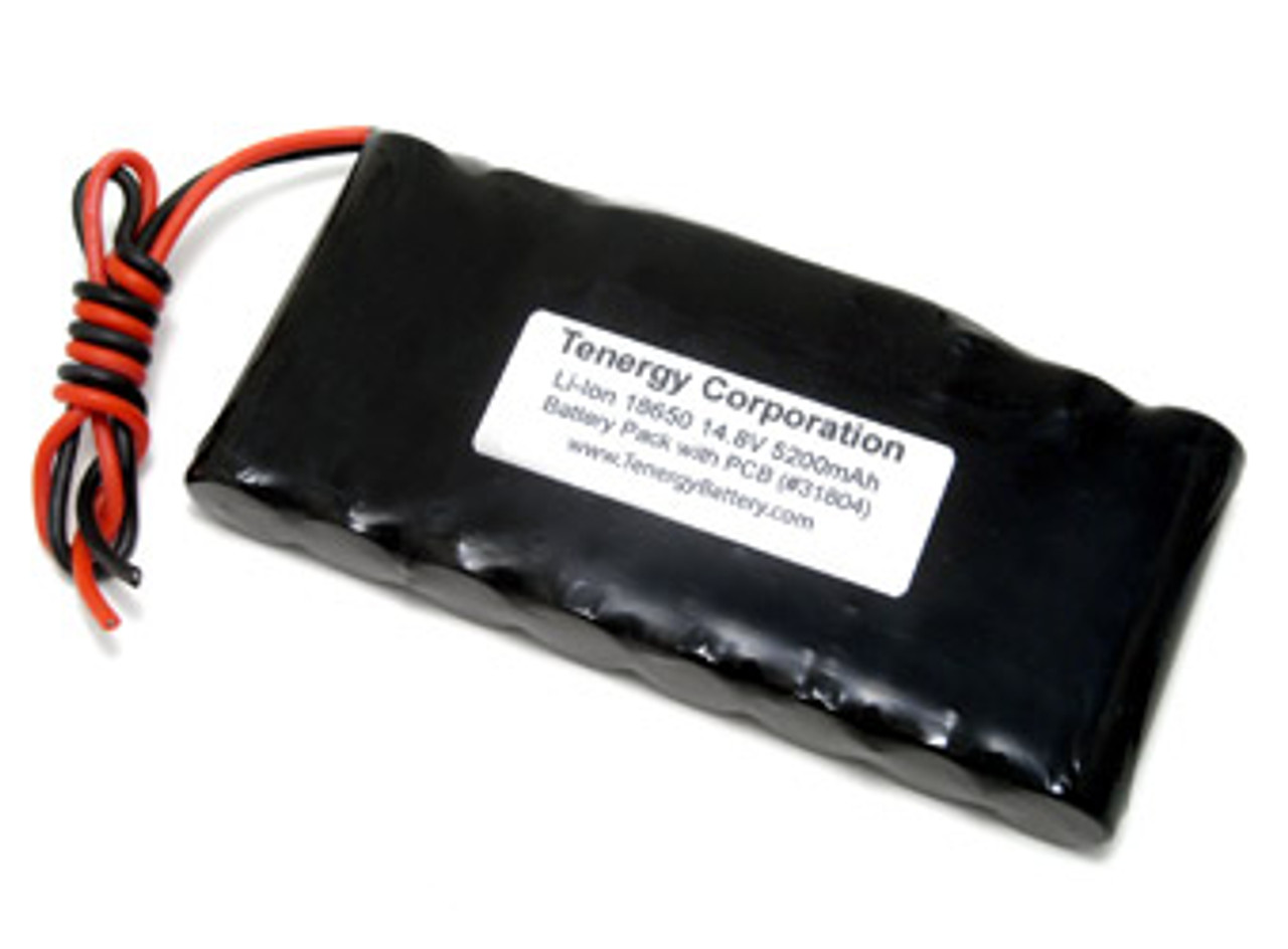 AT: Tenergy Li-ion 18650 14.8V 5200mAh Rechargeable Battery Pack w/ PCB (4S2P, 76.96Wh, 5A Rate)