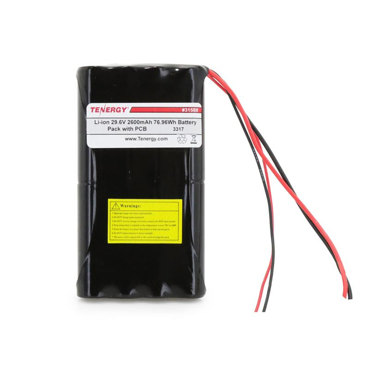 AT: Tenergy Li-ion 29.6V 2600mAh Rechargeable Battery Pack w/ PCB (8S1P, 76.96Wh, 5A Rate)