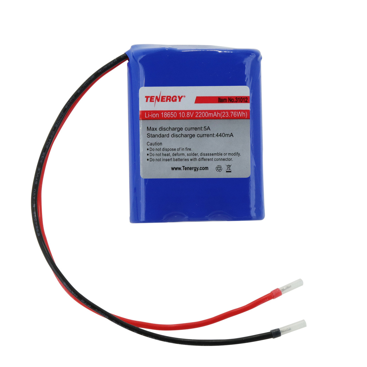 Tenergy Li-Ion 10.8V 2200mAh Rechargeable Battery Pack w/ PCB (3S1P, 23.76Wh, 4A Rate)