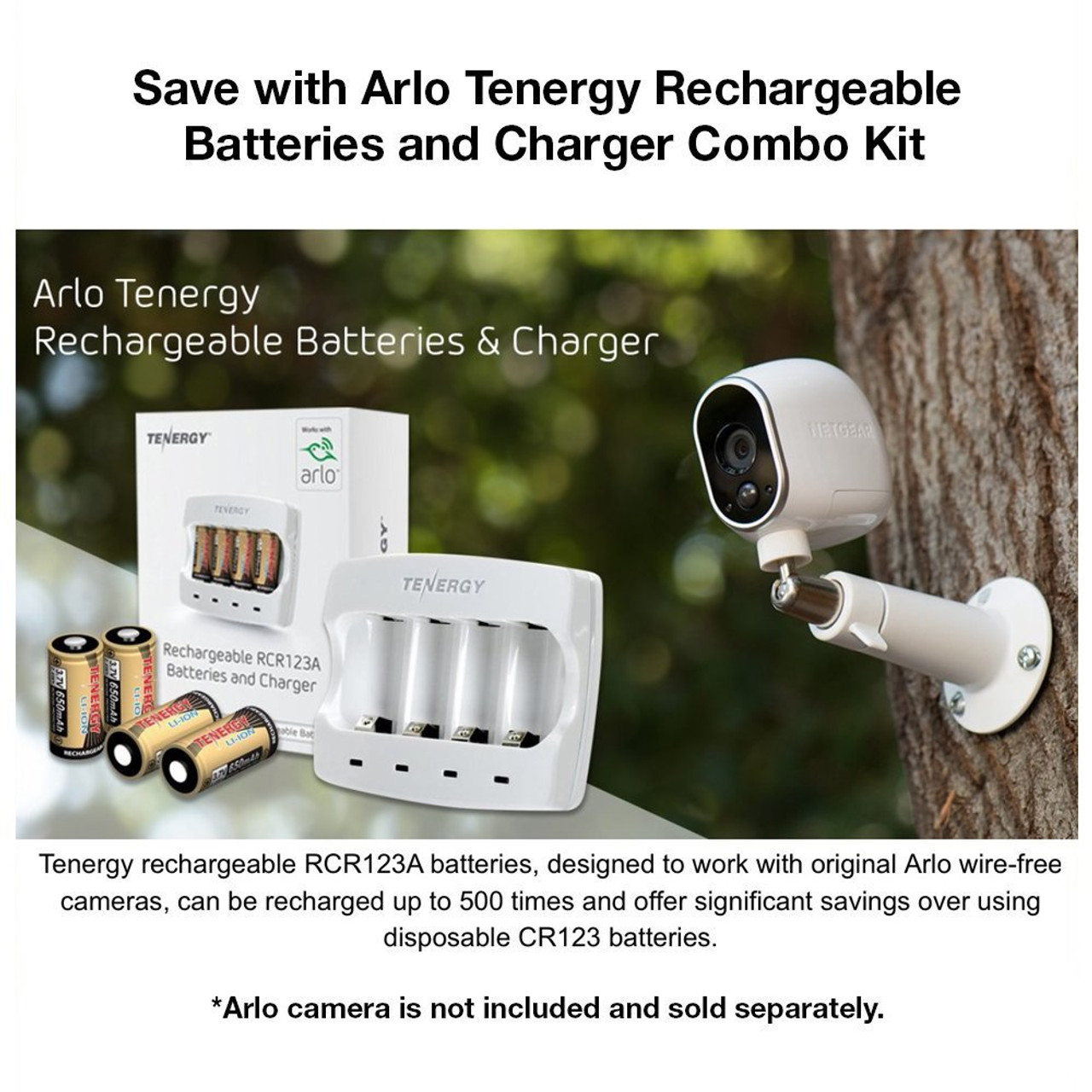 Rechargeable Batteries (12-Pack and Charger) Arlo Certified Li-ion 3.7V 650mAh Battery for Arlo Camera - VMC3030 (UL & UN certified), Bonus Sleeves & Cases