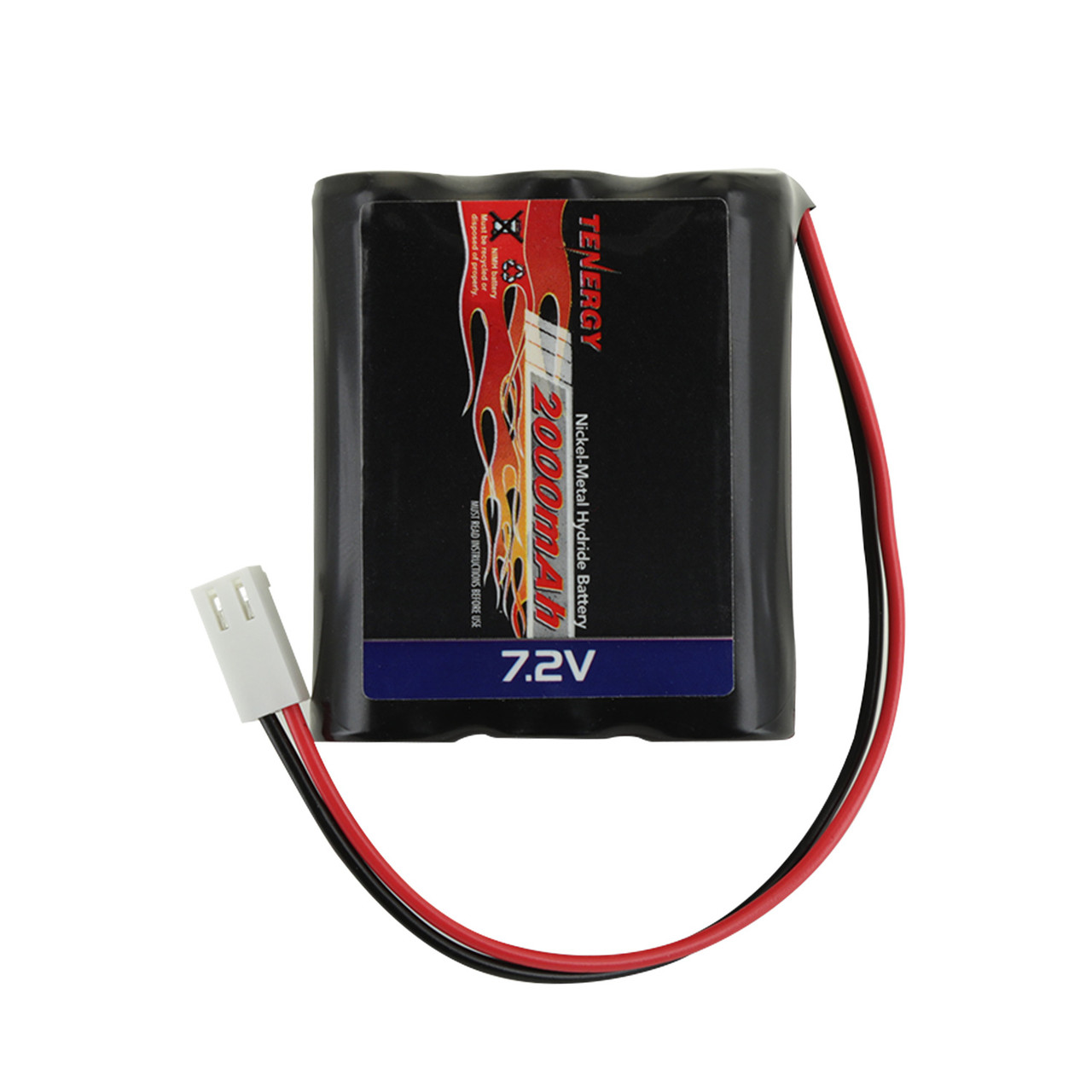 Tenergy 7.2V 2000mAh Square NiMH Rechargeable Battery Pack w/ Molex Connector