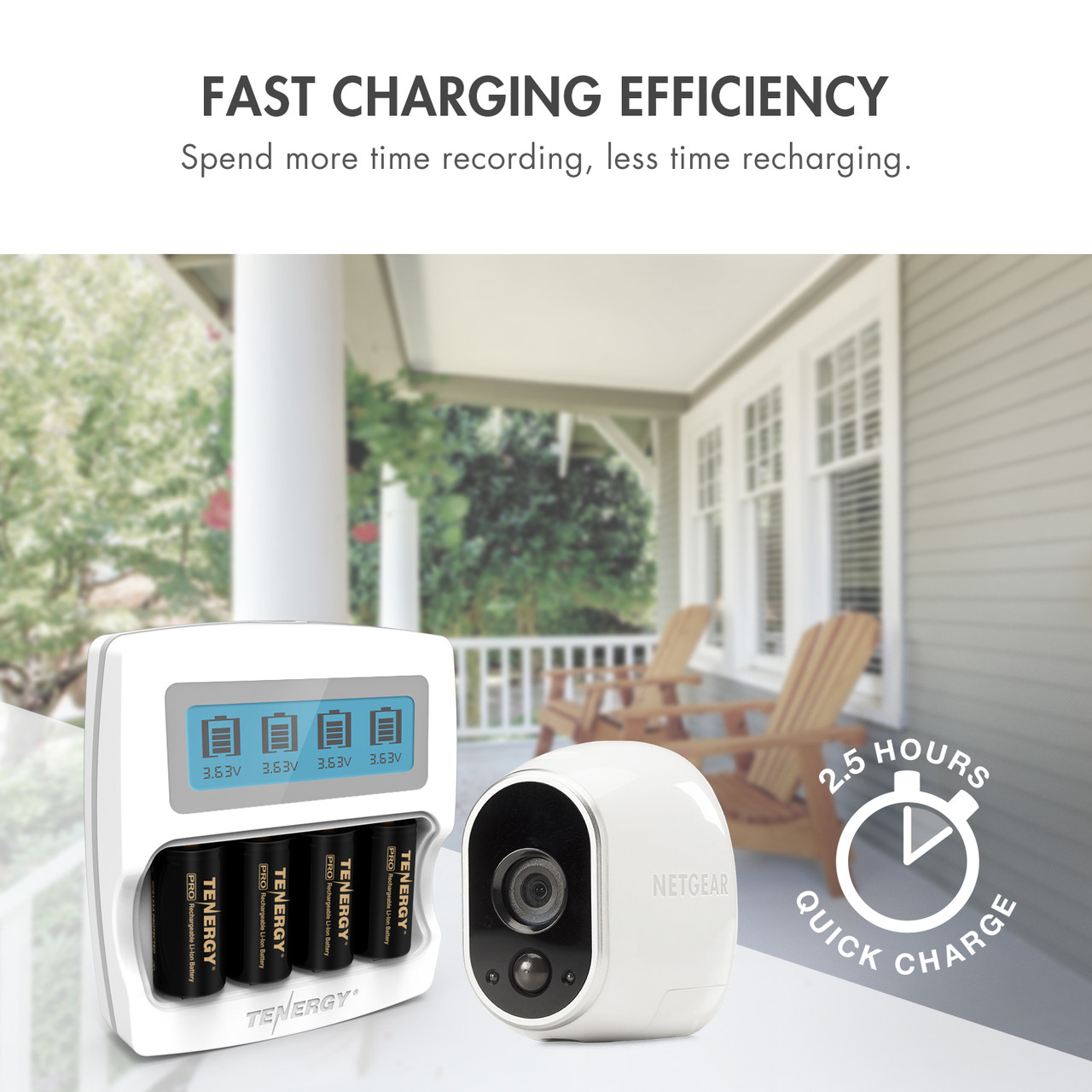 Premium Smart Fast Charger with LCD for Arlo Certified Tenergy 3.7V RCR123A Li-ion Rechargeable Batteries ONLY