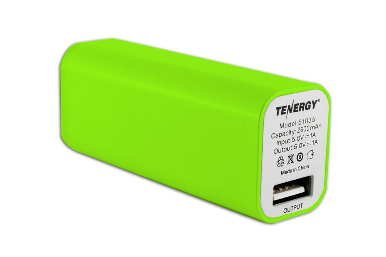 "Tenergy 2600mAh ""Lipstick"" Portable Power Bank (Green)"
