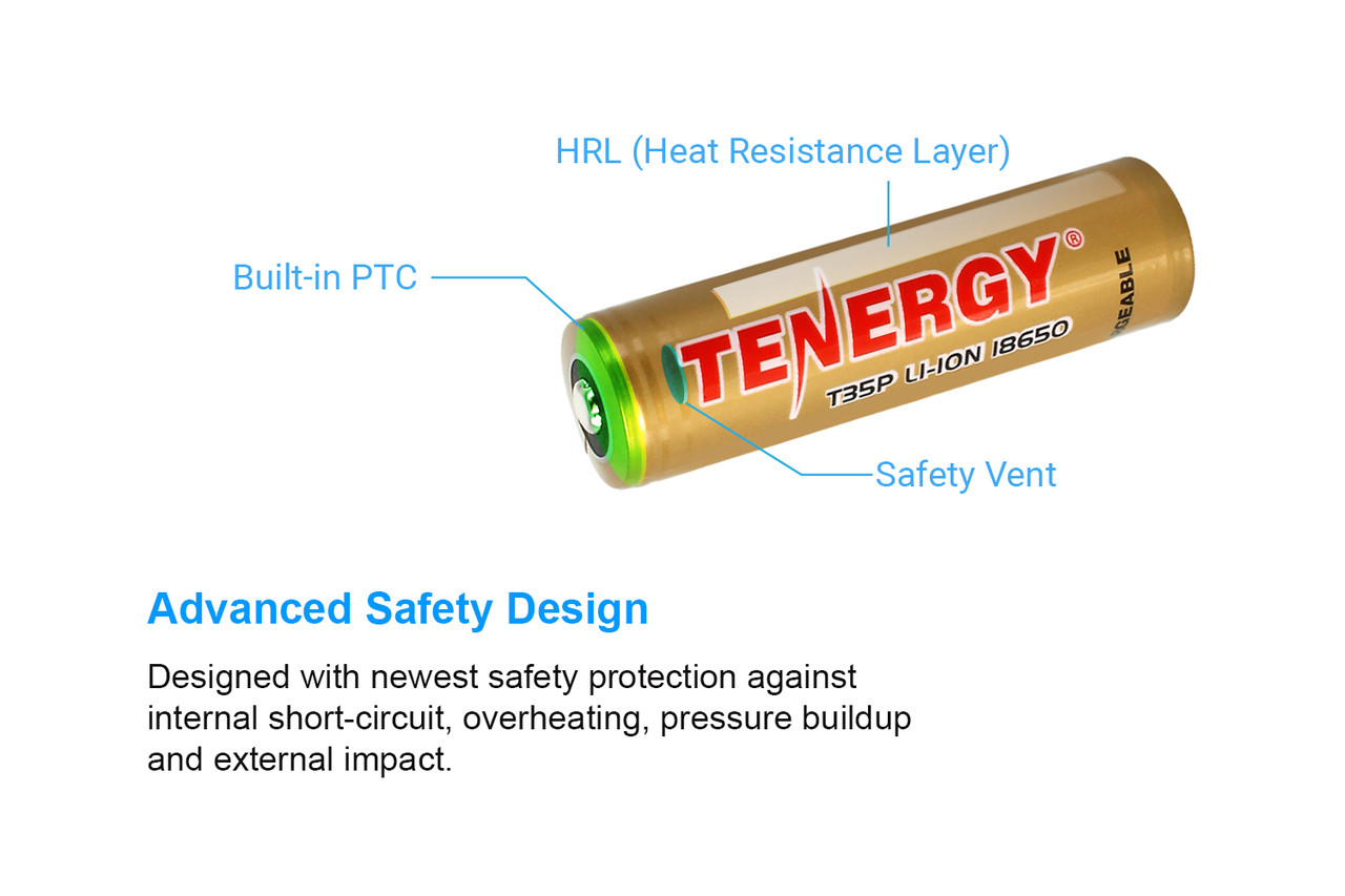 2-Pk Tenergy T35U 3.6V 3500mAh 10A 18650 Rechargeable Li-ion Battery, High Drain, Flat Top, 12.6Wh, Carrying Case Included