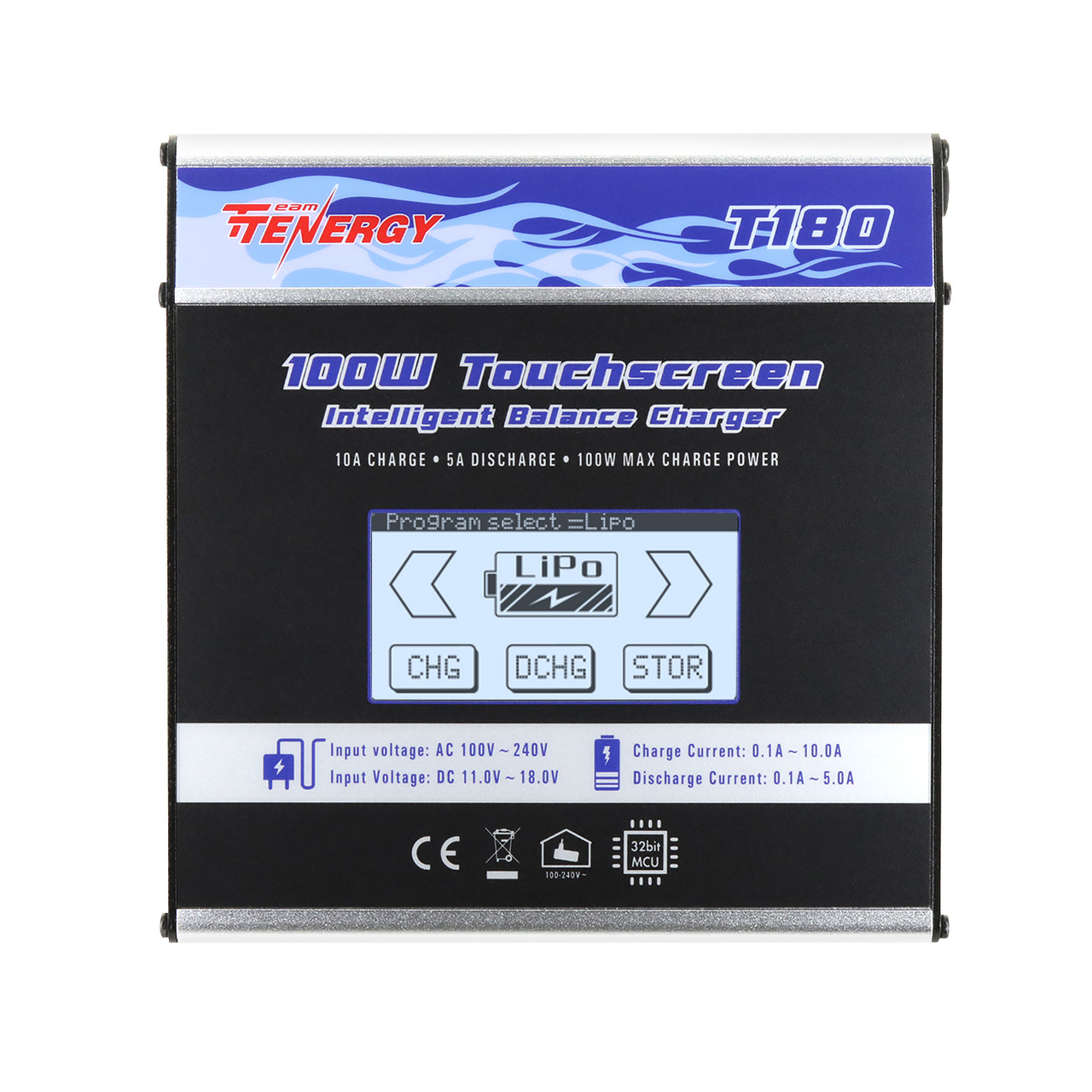 Tenergy T180 100W Balance charger with touch screen, metal housing