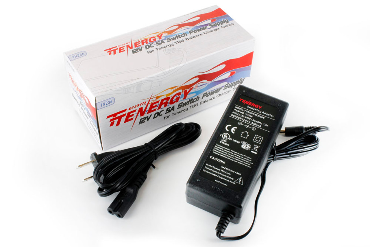 Tenergy 100V -240V AC to 12V DC 5A 60W Switching Power Supply Adapter with DC plug