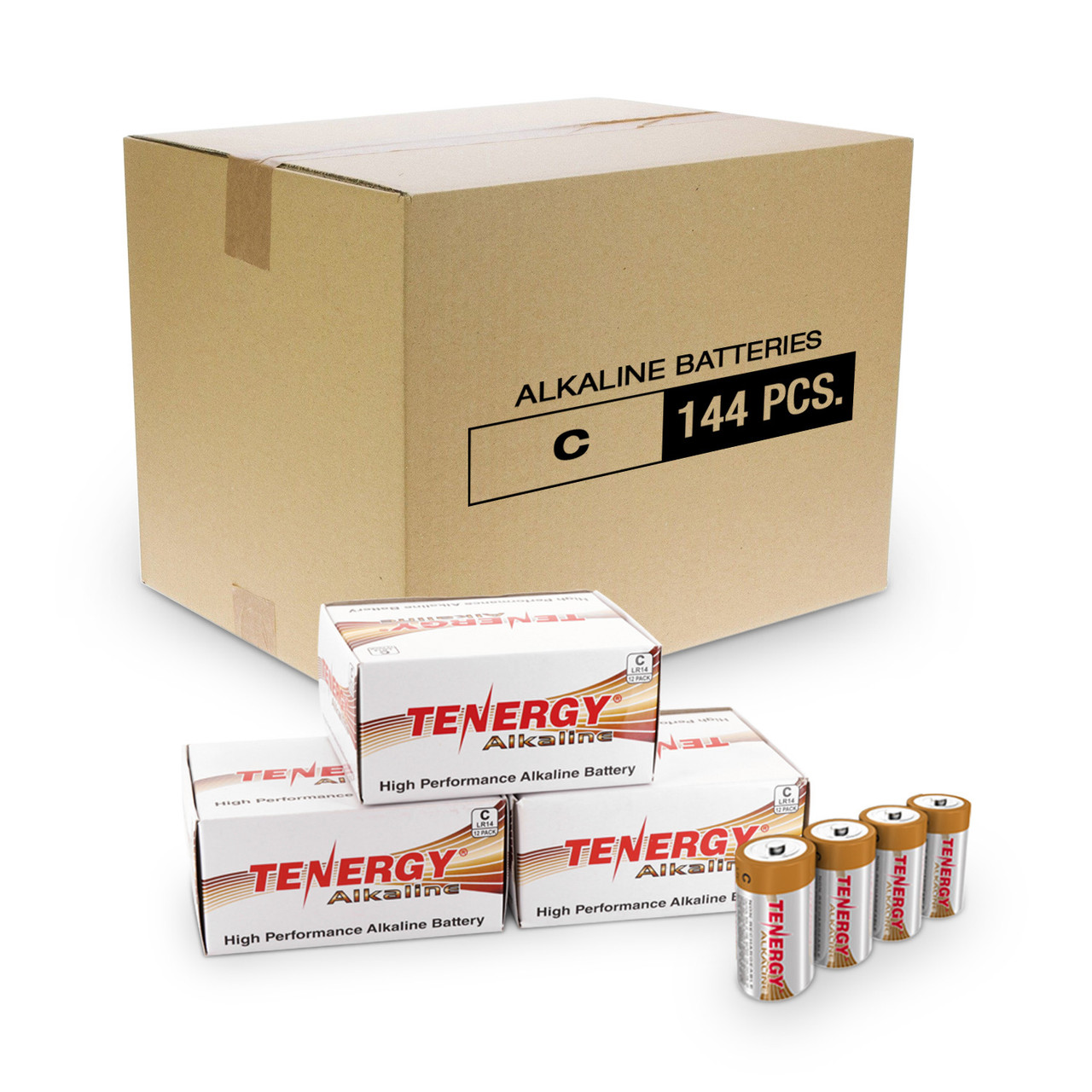 Box: 144pcs Tenergy C Size (LR14)  Alkaline Batteries