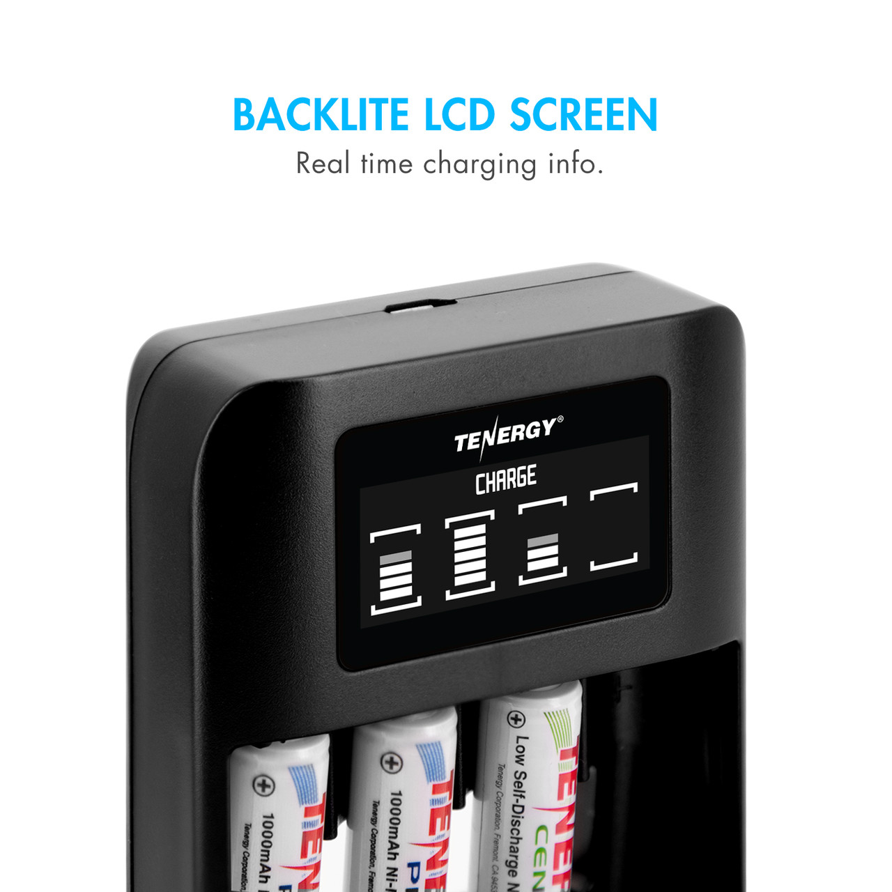 Tenergy TN474U 4-Bay NiMH Battery Charger with LCD Display and USB input