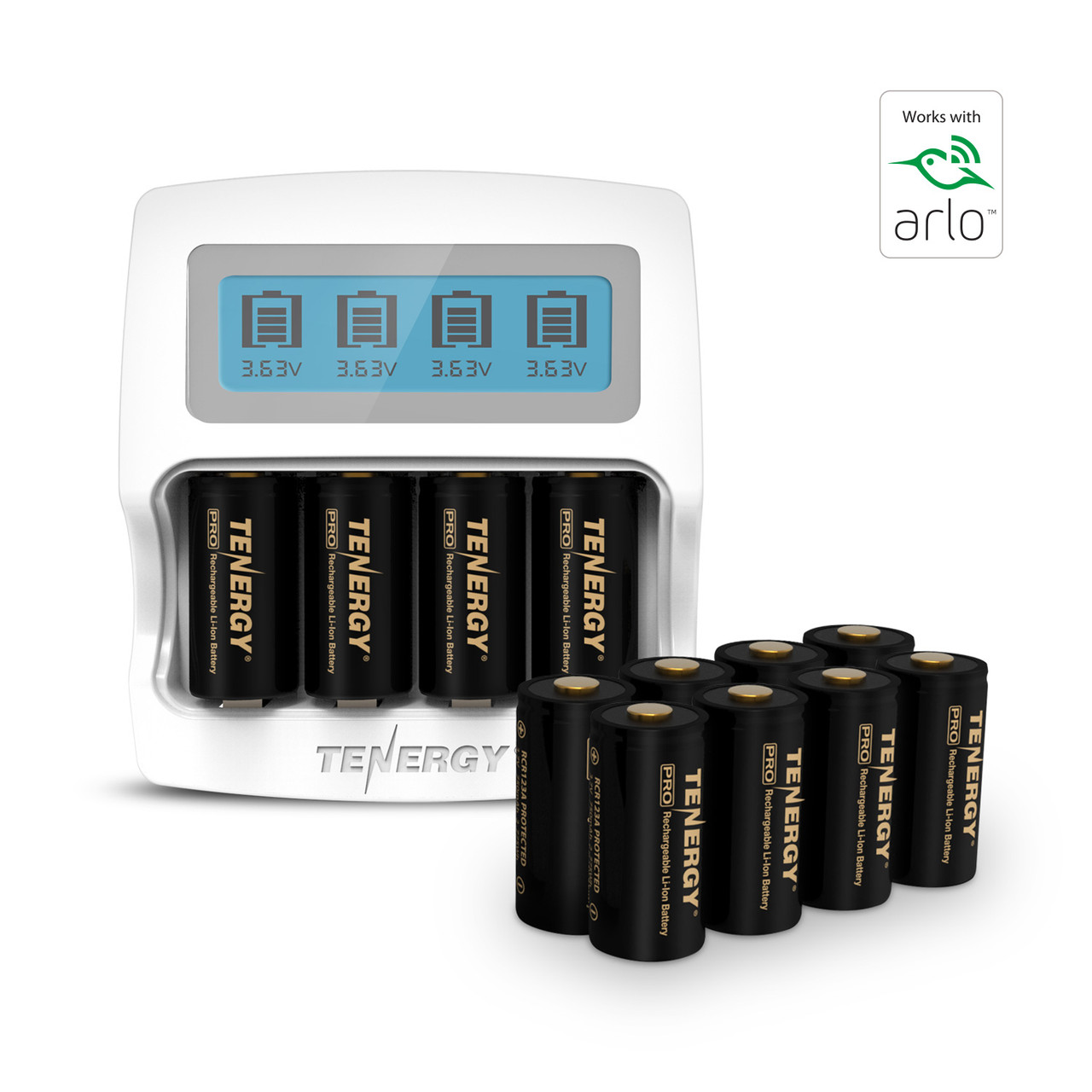 Tenergy Premium High Capacity Rechargeable Battery (12-Pack and Charger) Arlo Certified Li-ion 3.7V 750mAh and Smart Fast Charger with LCD