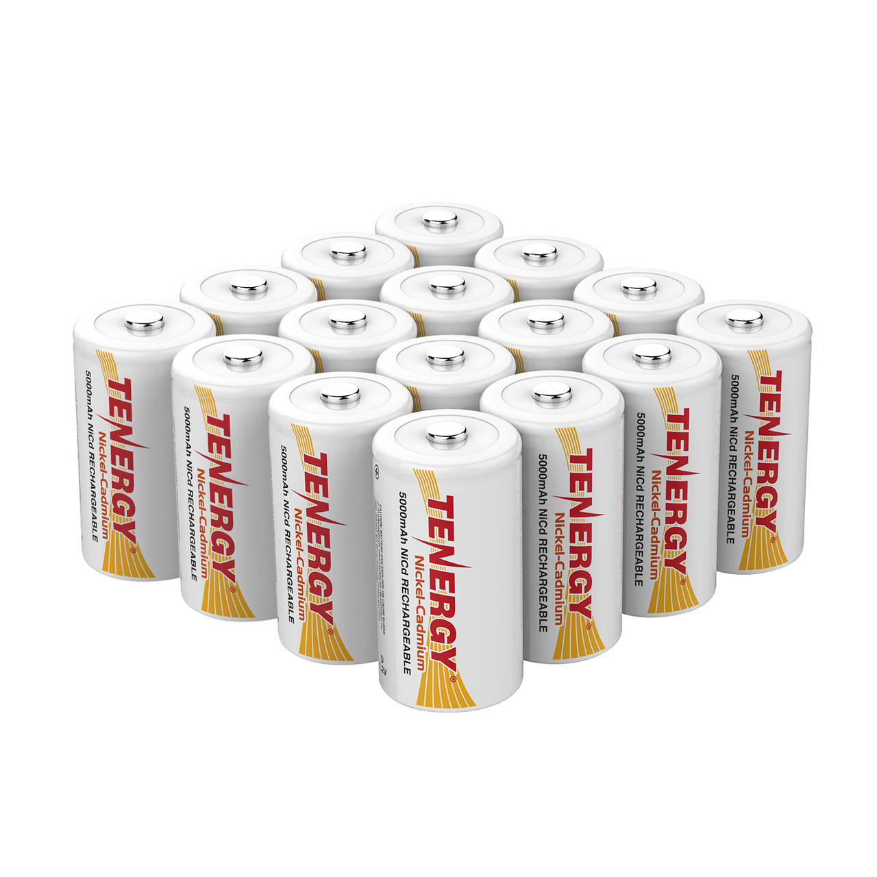 16pcs Tenergy D 5000mAh NiCd Button Top Rechargeable Battery