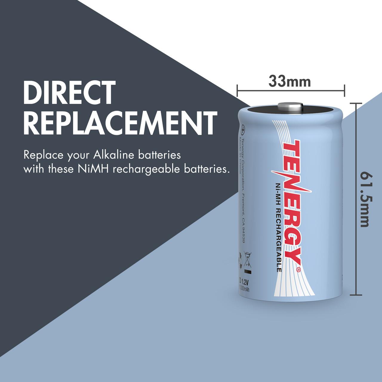 Tenergy D 10,000mAh NiMH Rechargeable Battery 16pcs