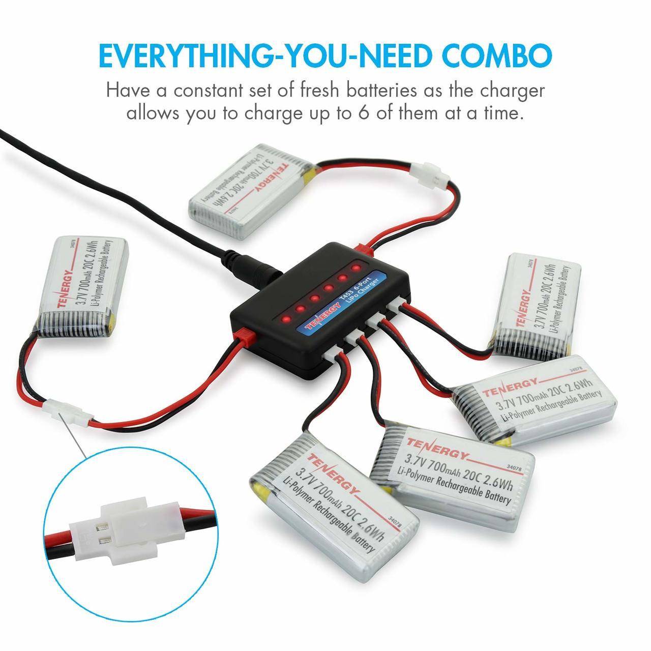 Combo: T453 charger for 3.7V Lithium RC battery + 6pc 3.7V 700mAh LiPo Battery Packs