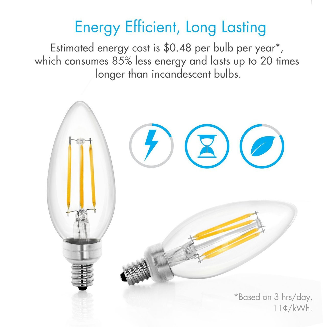 (Pack of 12) Tenergy LED Dimmable Candelabra Filament Light Bulbs 4W (40 Watt Equivalent), Soft White (2700K), E12 Chandelier Light Bulbs, B11/C37