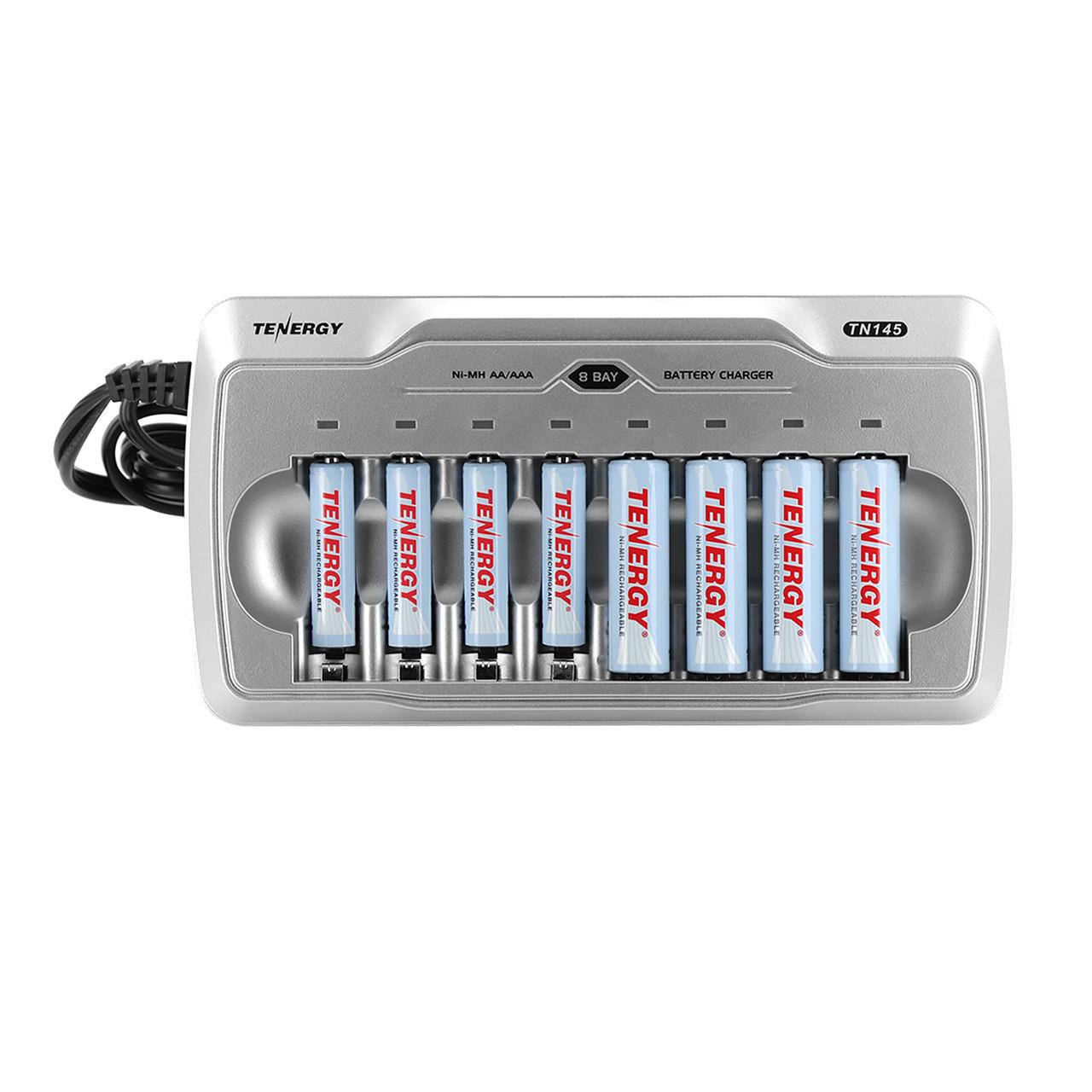 Combo: TN145 8-Bay AA/AAA NiMH/NiCd Charger + 4 AA and 4 AAA NiMH Rechargeable Batteries