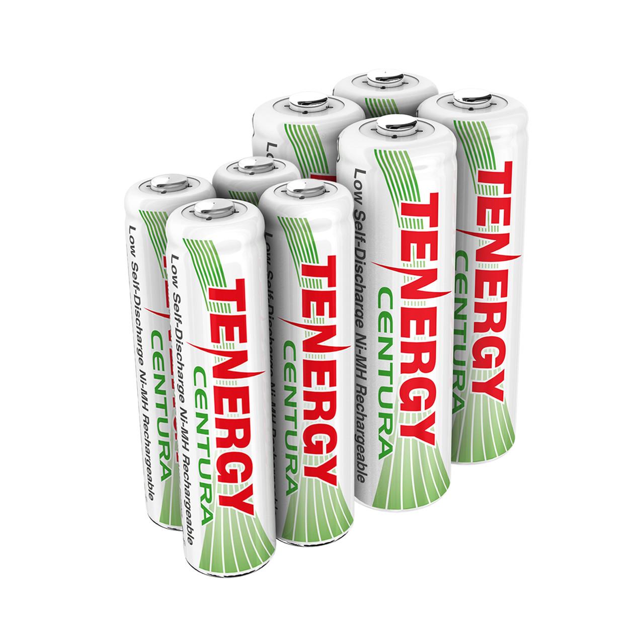 Combo: 8pcs Tenergy Centura NiMH 1.2V Rechargeable Batteries, (4AA/4AAA)