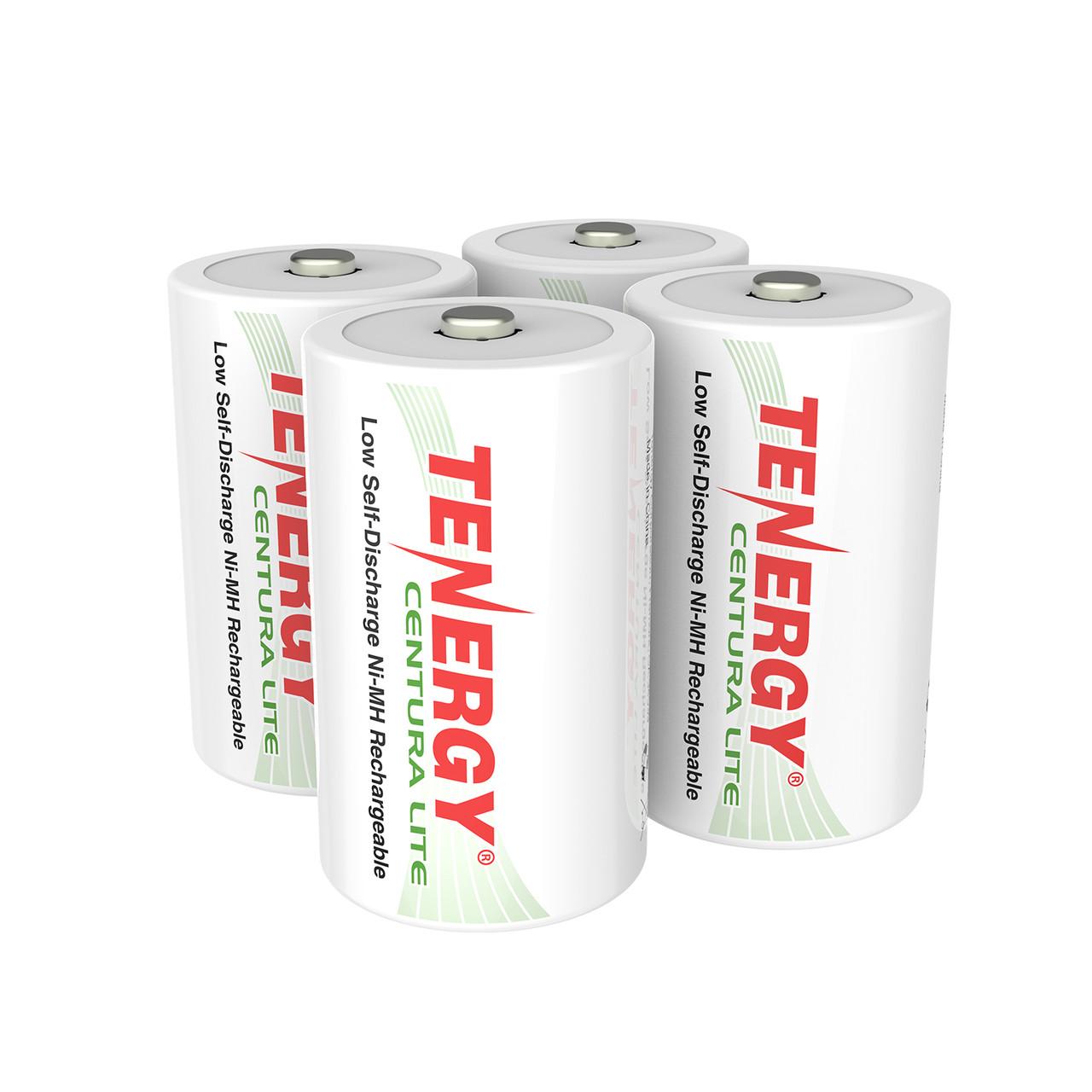 4pcs Tenergy Centura Lite NiMH D 1.2V 3000mAh Rechargeable Batteries