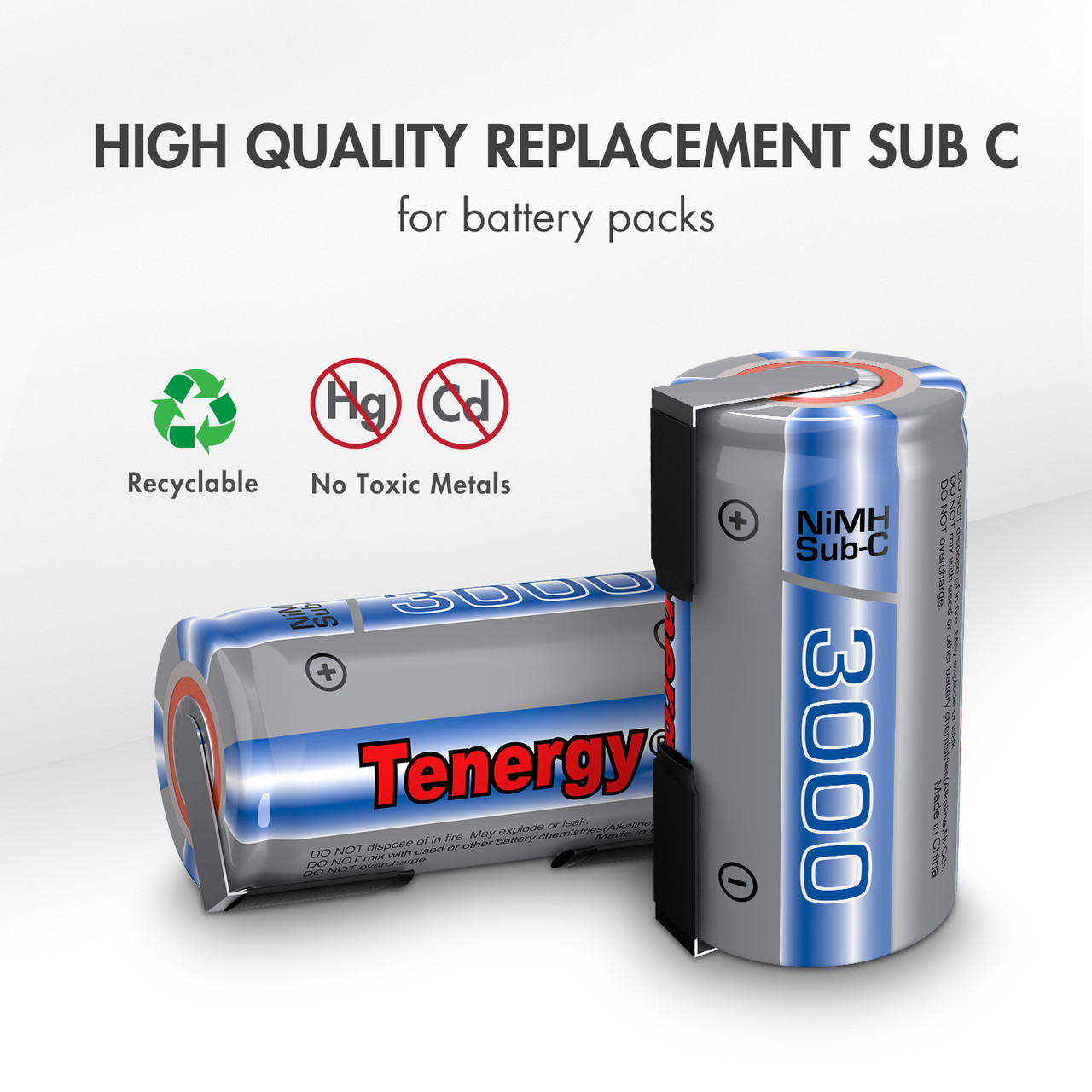15pcs Tenergy Propel Sub C 3000mAh NiMH Rechargeable Batteries, with Tabs