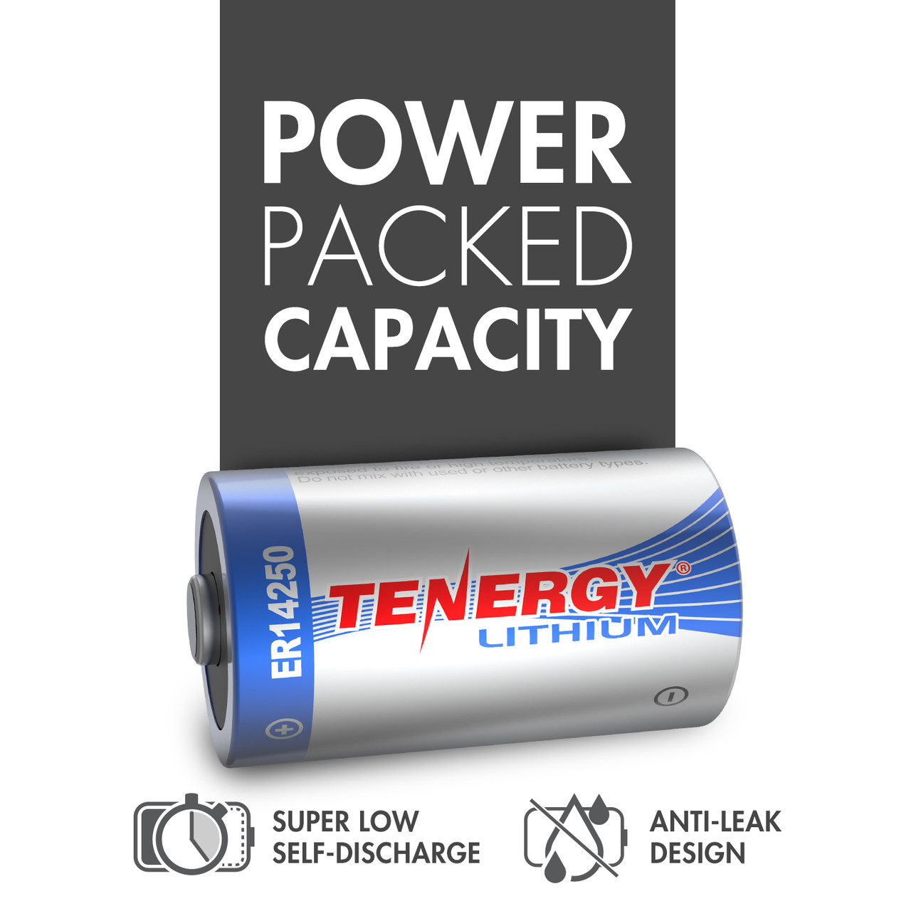 Tenergy Primary Lithium Thionyl Chloride Battery 1/2 AA 3.6V 1200mAh (ER14250) (non Rechargeable) - 10 Pack