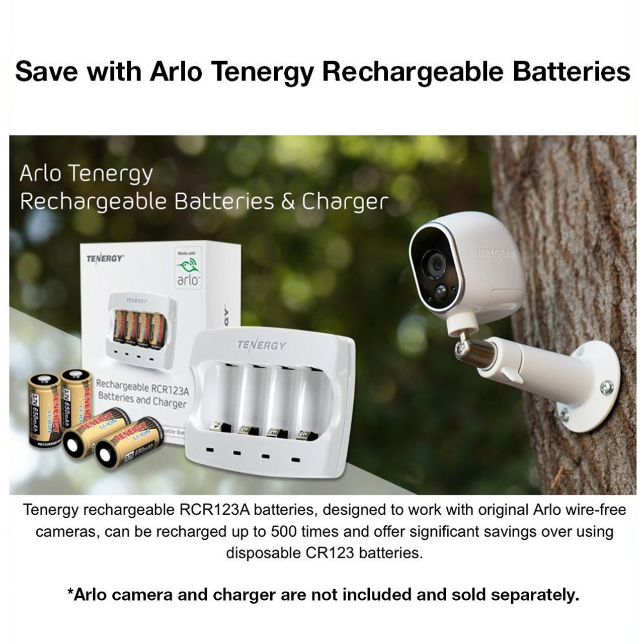 Rechargeable Batteries (24-Pack) Arlo Certified Li-ion 3.7V 650mAh for Arlo Smart Security Camera, UL & UN Certified