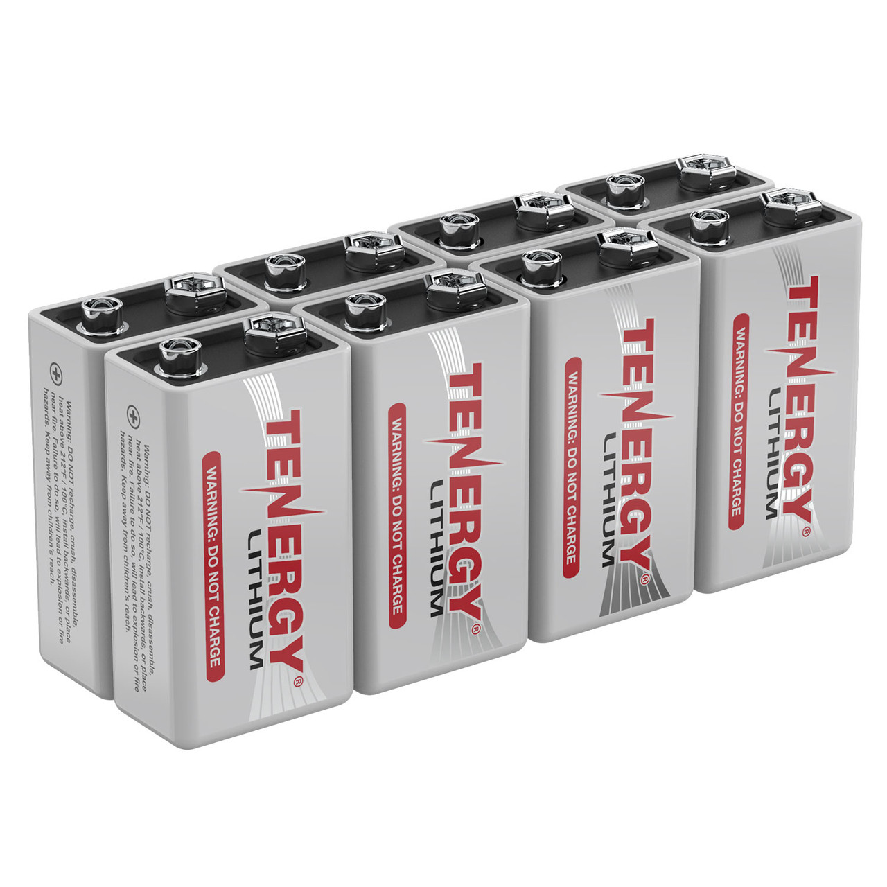 8-Pack, Tenergy 9V Lithium Battery, 1200mah with 10 years shelf life - [Non-Rechargeable]