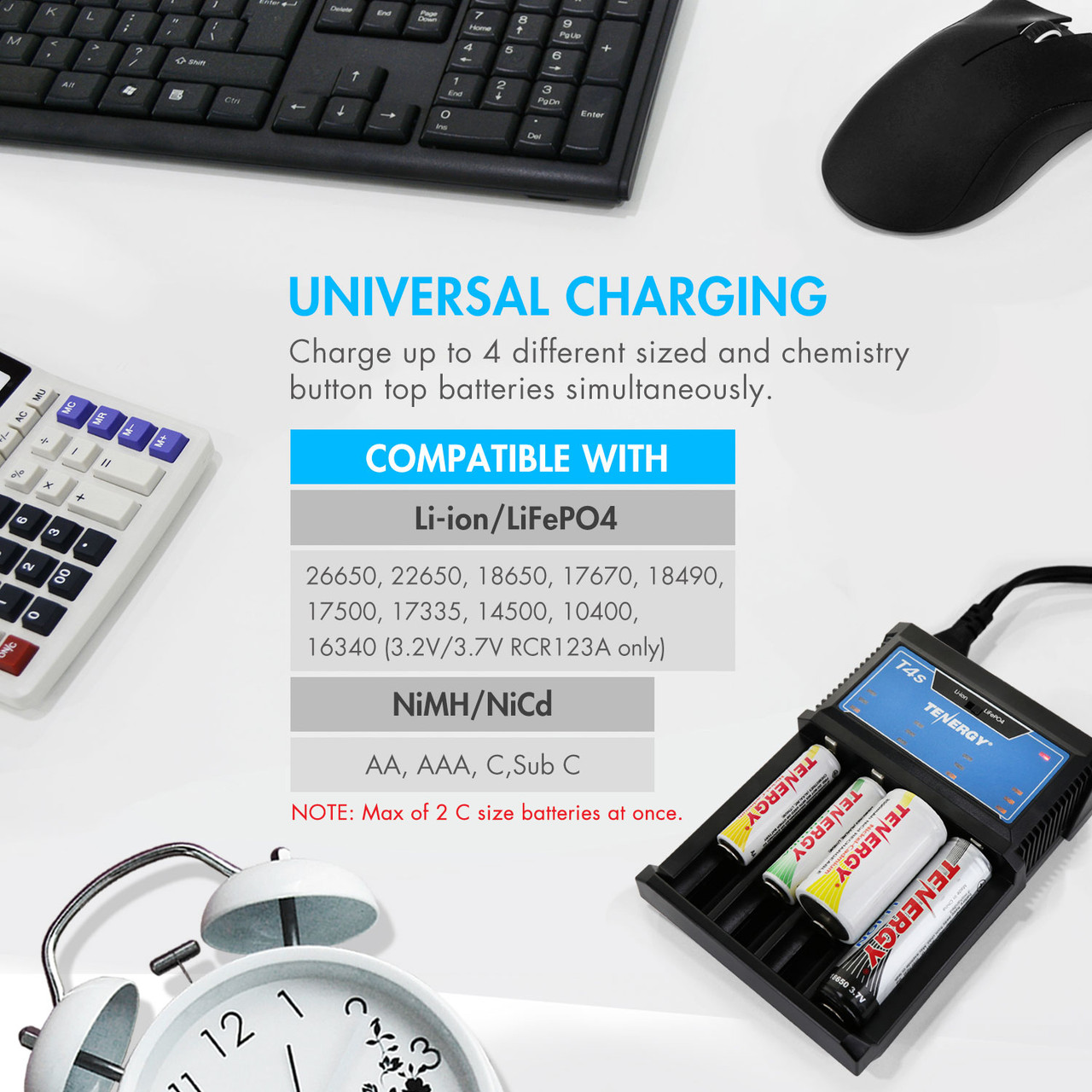 Combo: Tenergy T4s Universal LED Battery Charger + 2 Pack NiMH Rechargeable C Batteries