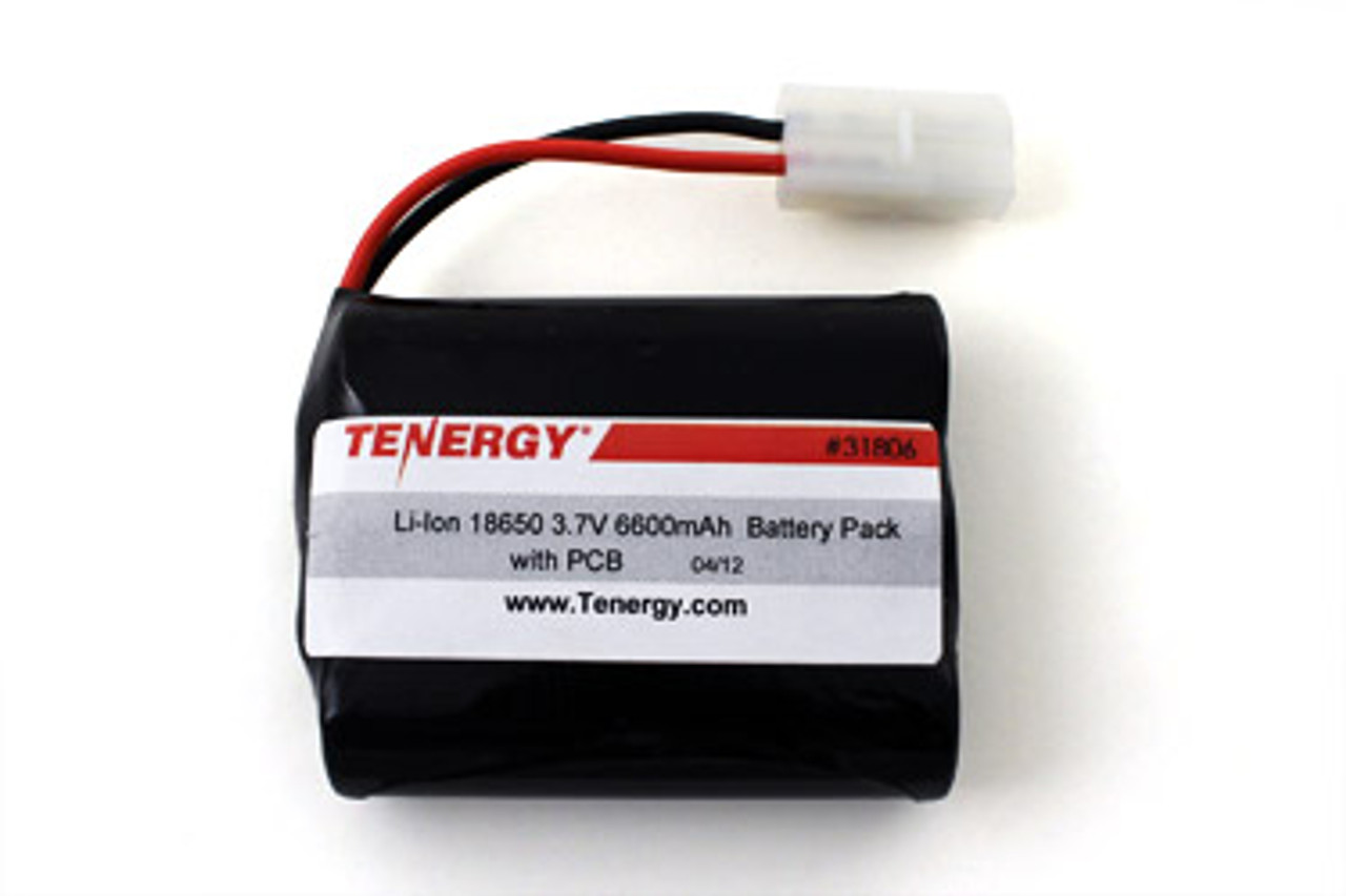 AT: Tenergy Li-ion 3.6V 6600mAh Rechargeable Battery Pack w/ PCB (1S3P, 23.76Wh, 6A Rate, Tamiya Connector)