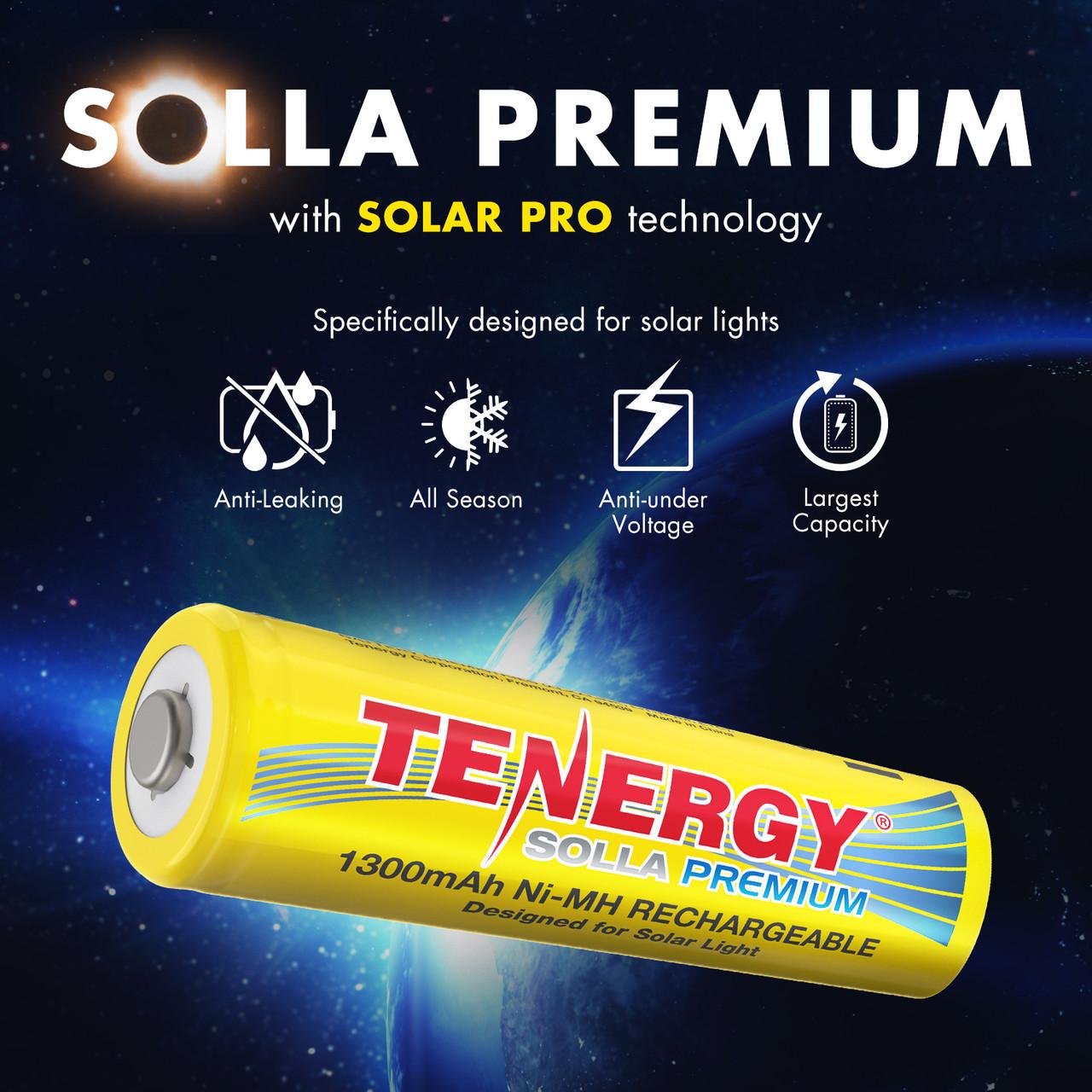 Tenergy Solla Premium Rechargeable NiMH AA Battery, 1300mAh Solar Batteries for Solar Garden Lights, 20 PCS, UL Certified